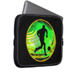 Kicking Balls in Green and Gold Laptop Computer Sleeves