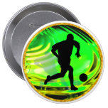Kicking Balls in Green and Gold Pinback Buttons