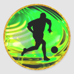 Kicking Balls in Green and Gold Round Sticker