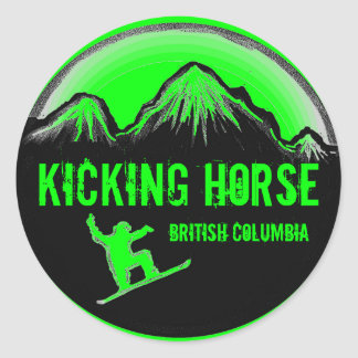 Kicking Horse BC Canada green snowboard stickers
