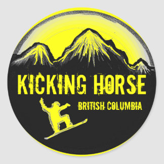 Kicking Horse BC Canada yellow snowboard stickers