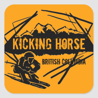 Kicking Horse British Columbia orange ski sticker