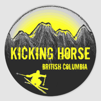 Kicking Horse British Columbia yellow ski stickers