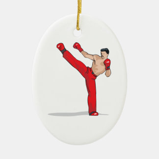 kicking kickboxer kickboxing graphic christmas ornament