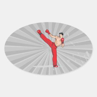 kicking kickboxer kickboxing graphic oval sticker