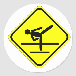 kicking sign classic round sticker