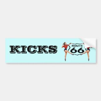 """KICKS"" GALS ROUTE 66 SIGN Bumper Sticker ROADTRIP"