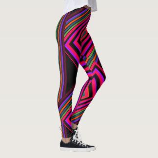Kicky Fun Fashion Leggings- Multi-colored on Black Leggings