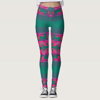 Kicky Fun Fashion Leggings -Pink/Coral/Teal