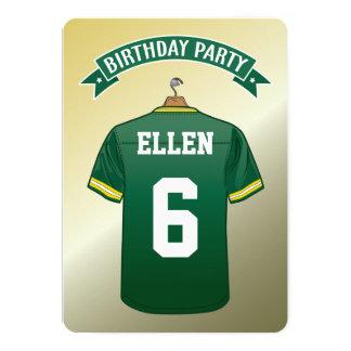 Kid American Football Jersey Green Yellow Birthday Card