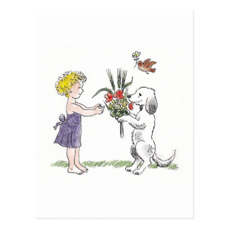 Kid and pet card postcard