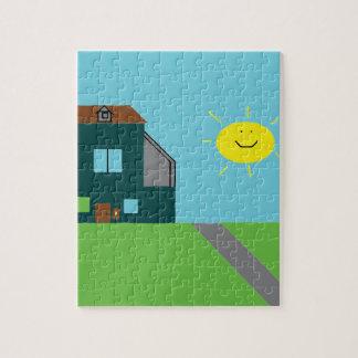 Kid Art - House Sky & Sunshine Jigsaw Puzzle