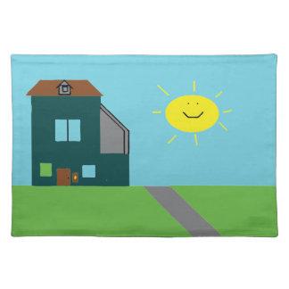 Kid Art - House Sky & Sunshine Placemats