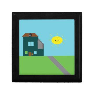 Kid Art - House Sky & Sunshine Small Square Gift Box