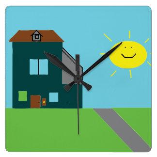 Kid Art - House Sky & Sunshine Square Wall Clock