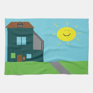 Kid Art - House Sky & Sunshine Tea Towel