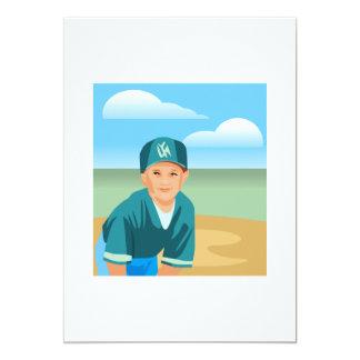 Kid Baseball 13 Cm X 18 Cm Invitation Card