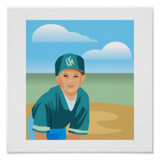 Kid Baseball Posters