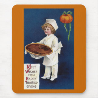 Kid Chef with Pumpkin Pie Vintage Thanksgiving Mouse Pad