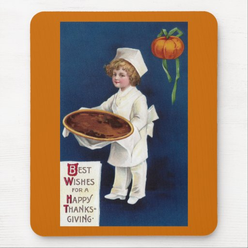 Kid Chef with Pumpkin Pie Vintage Thanksgiving Mouse Pads