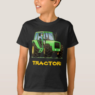 Kid Custom Green Tractor T-Shirt