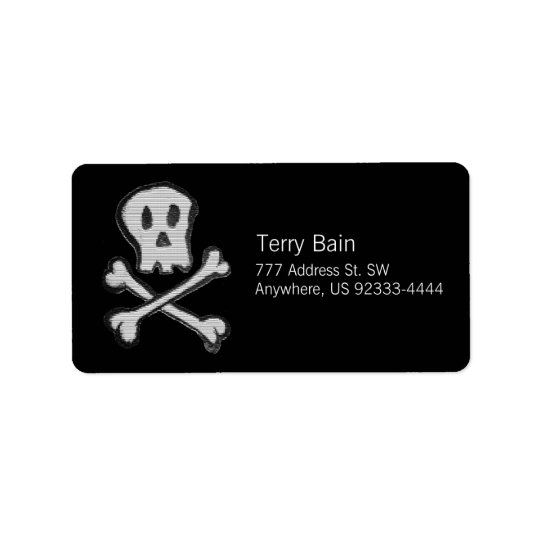 Kid Drawn Mosaic Style Jolly Roger Address Label