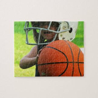 Kid Football Helmet With Basketball Jigsaw Puzzle Jigsaw Puzzle