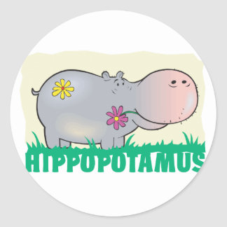 Kid Friendly Hippopotamus Classic Round Sticker