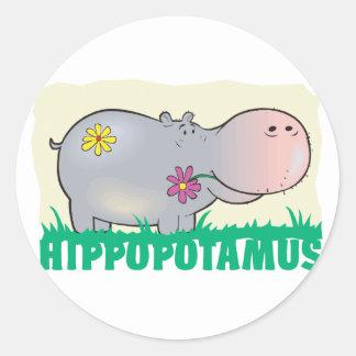 Kid Friendly Hippopotamus Round Sticker