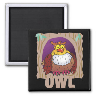 Kid Friendly Owl Square Magnet