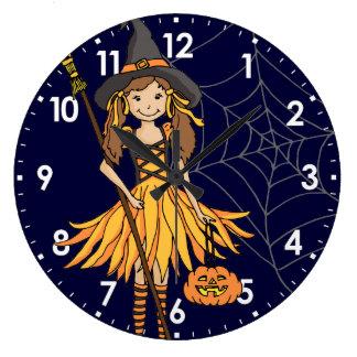 kid girls cute halloween wall clock