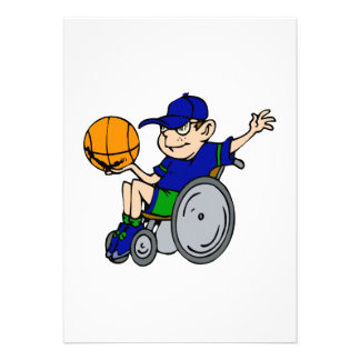 kid in chair playing basketball custom announcements