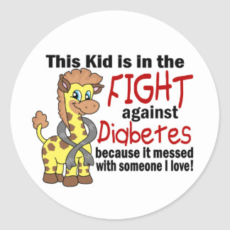 Kid In The Fight Against Diabetes Classic Round Sticker