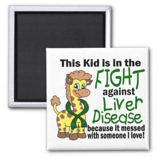 Kid In The Fight Against Liver Disease Square Magnet