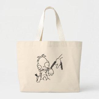 Kid in tow black print tote bags