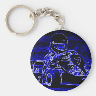 Kid Kart in Blue and White Basic Round Button Key Ring