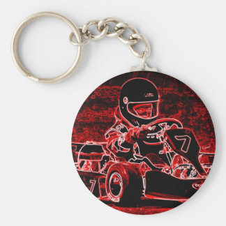 Kid Karts Are RED Hot! Basic Round Button Key Ring