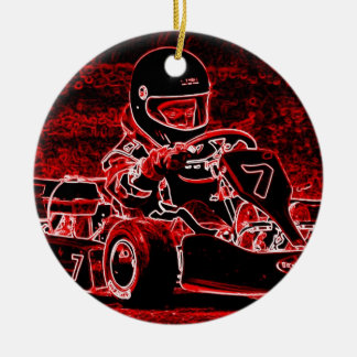 Kid Karts Are RED Hot! Round Ceramic Decoration