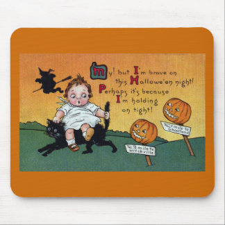 Kid on Cat and JOL Signposts Vintage Halloween Mouse Pad
