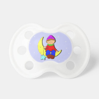 Kid on the moon blue background baby pacifier. pacifier