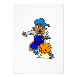 Kid playing basketball announcements