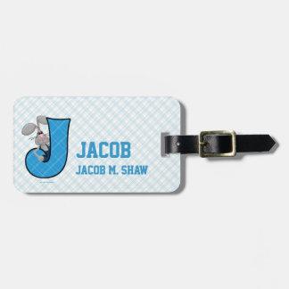 Kid s Blue Jackrabbit Monogram J Luggage Tags