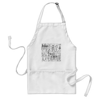 Kid s Folk Art Drawing of Children and Animals Aprons