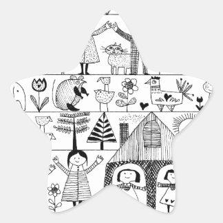 Kid s Folk Art Drawing of Children and Animals Sticker