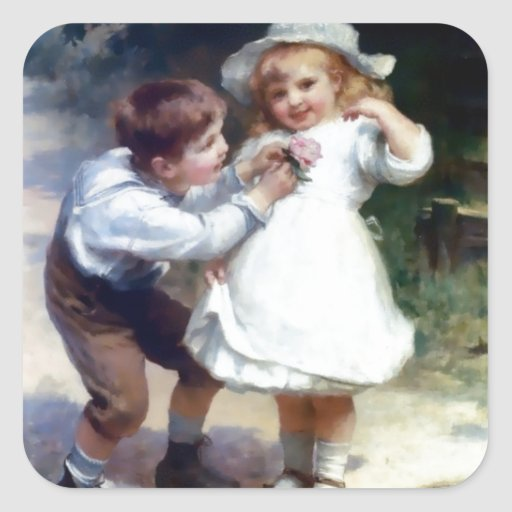 Kid Sweethearts painting Square Stickers