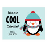 Kid Valentine's Day Card - Cool Penguin Postcard