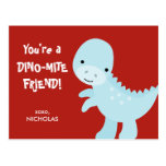 Kid Valentine's Day Card - Dino-mite Friend Postcard