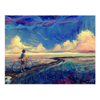 Kid Walking a Bicycle Painting Postcard