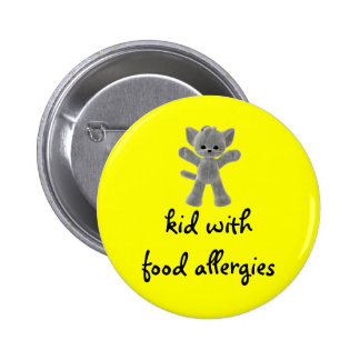 Kid with food allergies pinback buttons