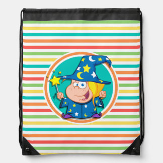 Kid Wizard on Bright Rainbow Stripes Drawstring Backpacks